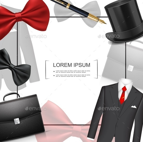 Realistic Businessman Style Template - Backgrounds Business