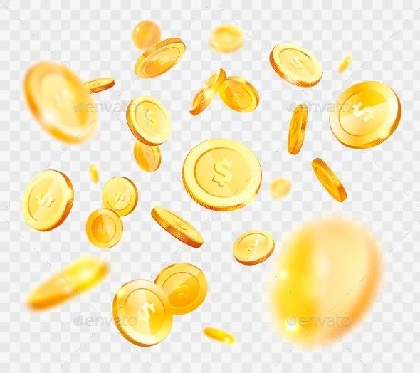Money Gold Coins Falling - Backgrounds Business