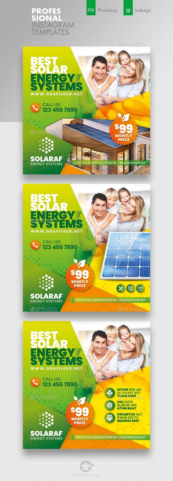 Solar Energy Instagram Templates - Social Media Web Elements