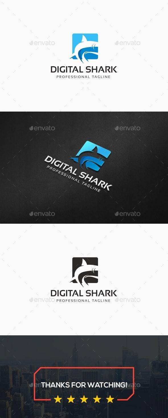 Digital Shark Logo - Animals Logo Templates