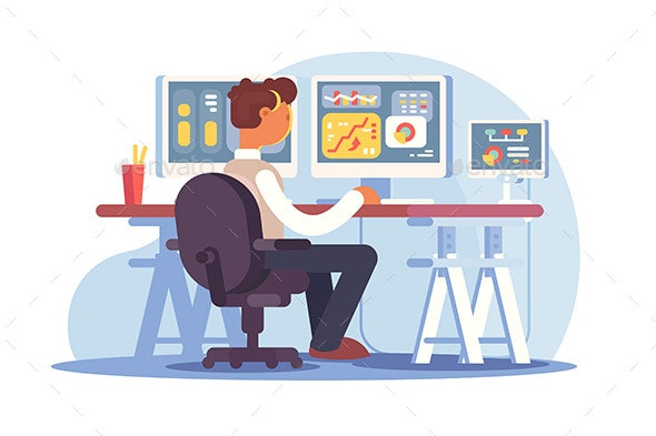 Stock Trader Sitting at Workplace - Concepts Business