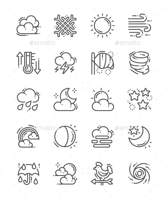 Weather Forecast Line Icons - Seasonal Icons