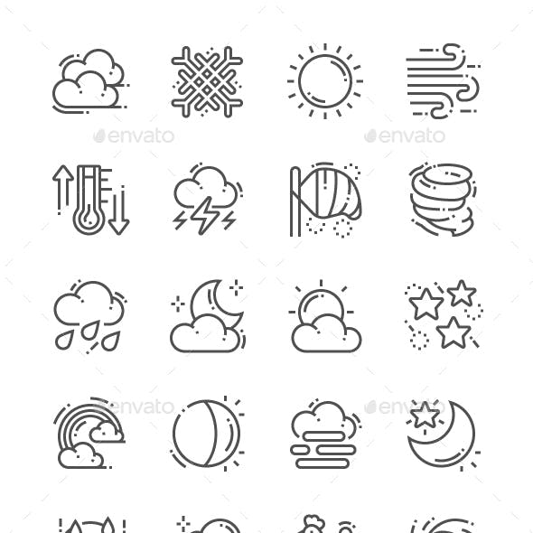 Weather Forecast Line Icons