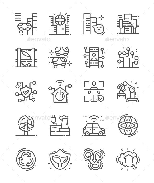 City of the Future Line Icons - Buildings Objects