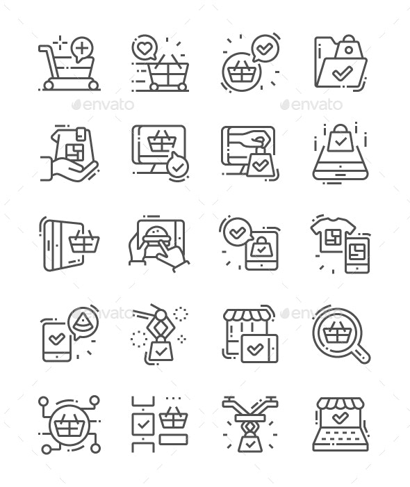 Future Shopping Line Icons - Business Icons