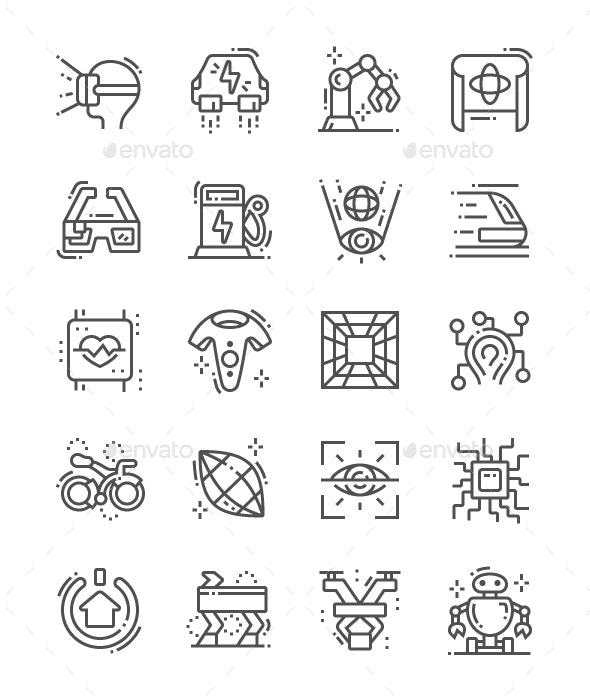 Technologies of the future Line Icons - Technology Icons