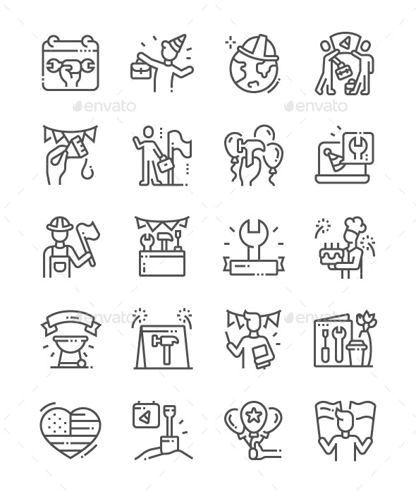 International Labor Day Line Icons - People Characters