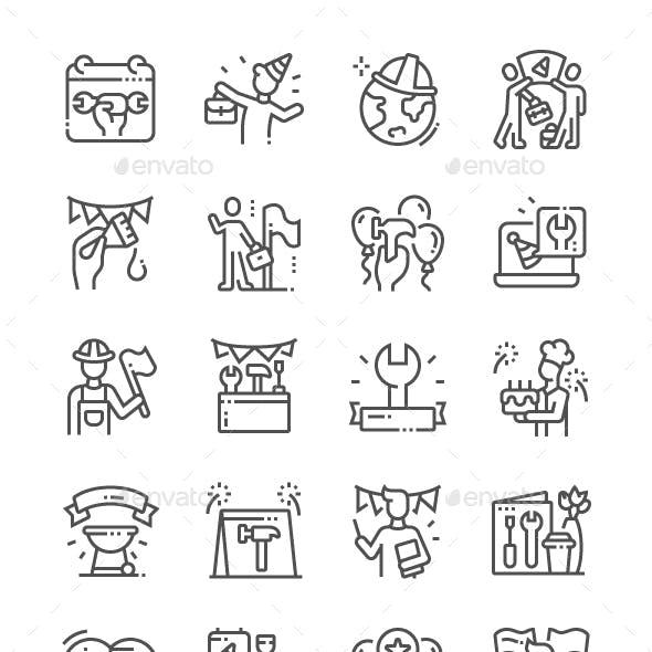 International Labor Day Line Icons