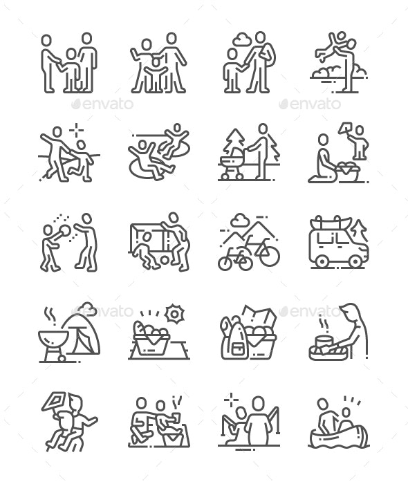 Family Outdoor Recreation Line Icons - People Characters