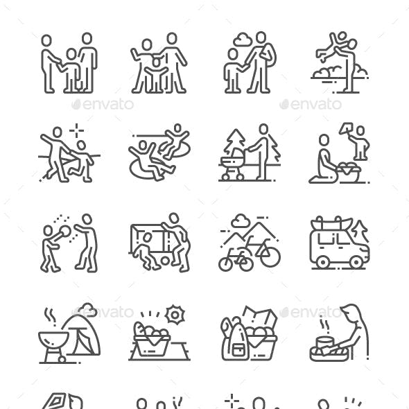 Family Outdoor Recreation Line Icons