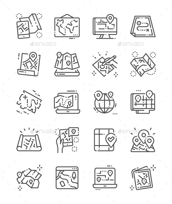 Paper and Electronic Maps Line Icons - Technology Icons