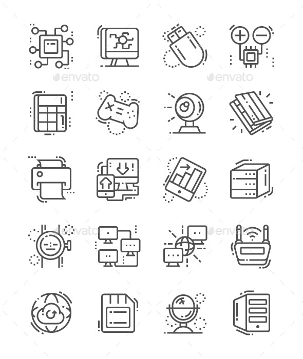 Computer Engineering Line Icons - Technology Icons