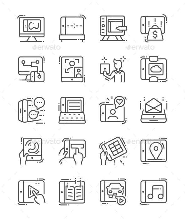 Tablet Usage Line Icons - Technology Icons