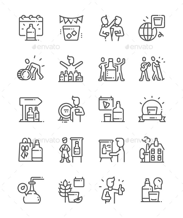 Spirit of Speyside Whisky Festival Line Icons - Miscellaneous Characters