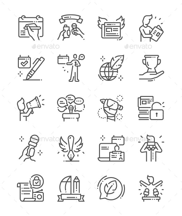 World Press Freedom Day Line Icons - Media Icons