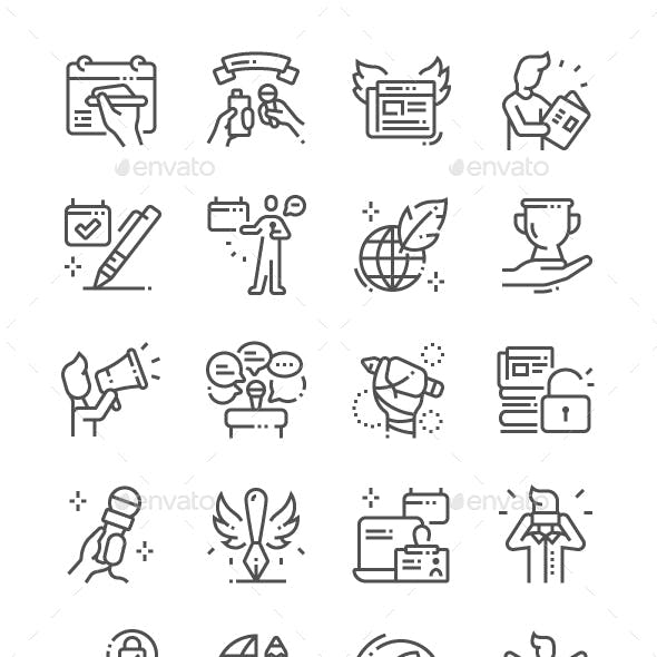 World Press Freedom Day Line Icons