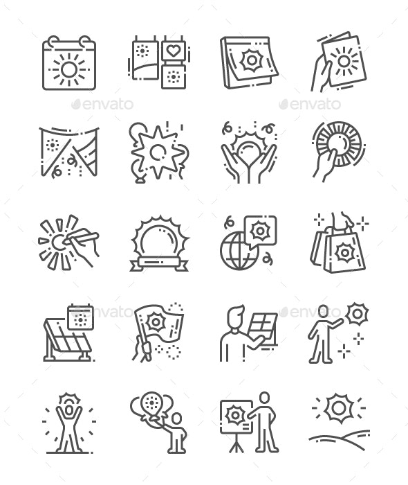 World Sun Day Line Icons - Media Icons