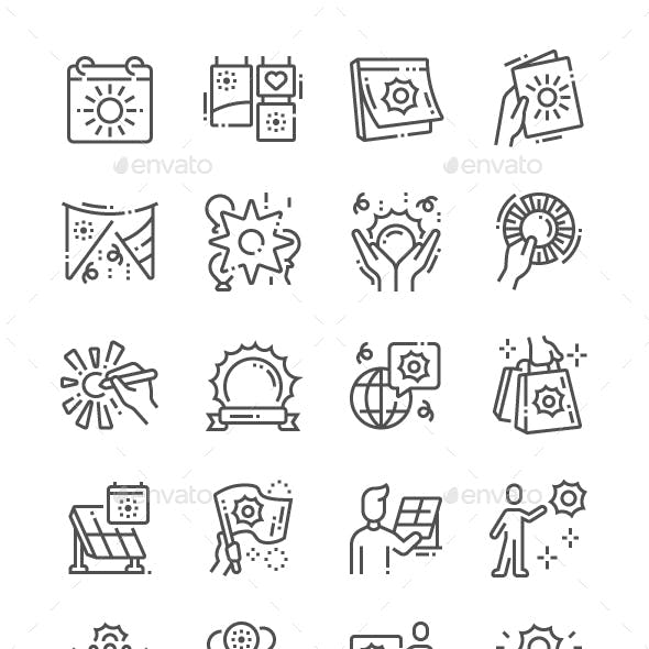 World Sun Day Line Icons