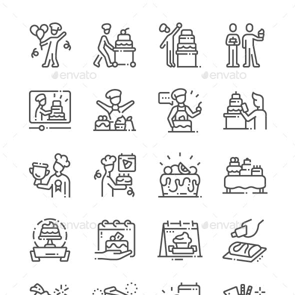 Confectioner's Day Line Icons