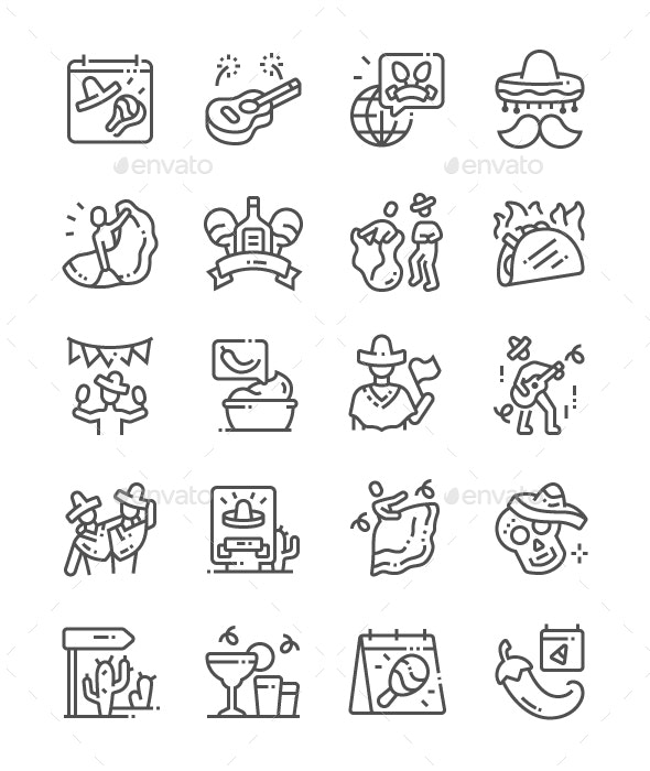 Cinco de Mayo Line Icons - Miscellaneous Characters