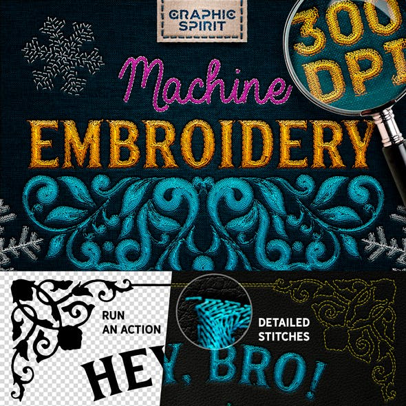 Machine Embroidery Actions For Adobe Photoshop