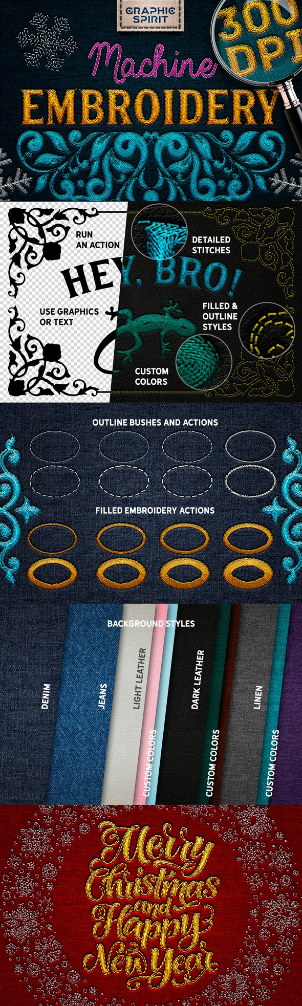 Machine Embroidery Actions For Adobe Photoshop - Text Effects Actions