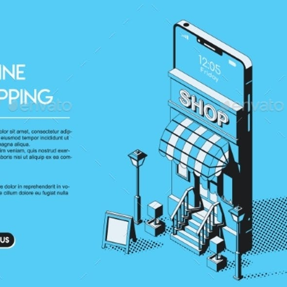 Online Shopping Concept Halftone Isometric Vector