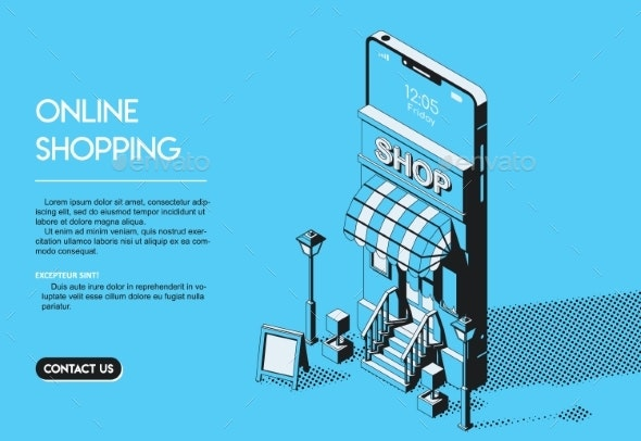 Online Shopping Concept Halftone Isometric Vector - Industries Business