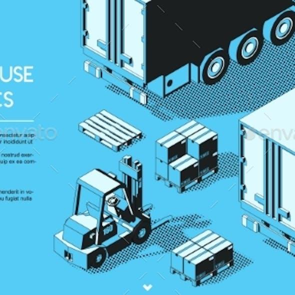 Warehouse Logistics Concept Halftone Isometric