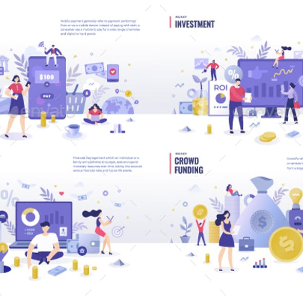 Money & Finance Flat Illustration Concepts