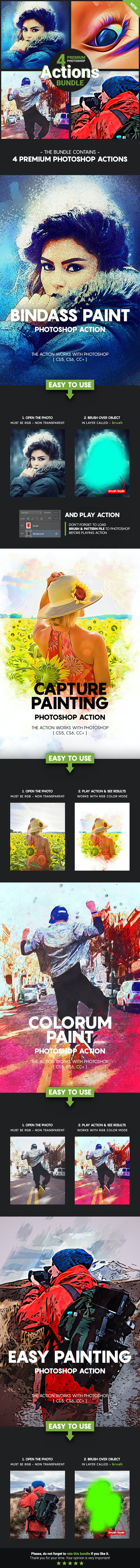 4 Premium Photoshop Actions Bundle - Apr19 #1 - Photo Effects Actions
