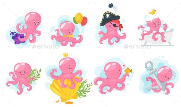 Octopus Cartoons - Animals Characters