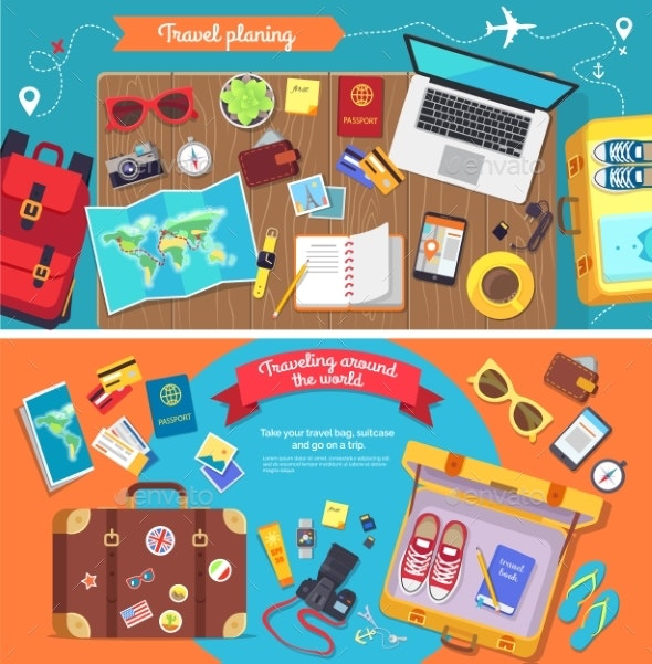Travel Planning Poster with Icons for Holidays - Travel Conceptual