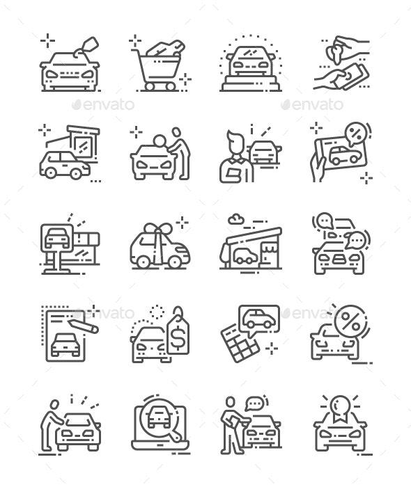 Car Shop Line Icons - Business Icons