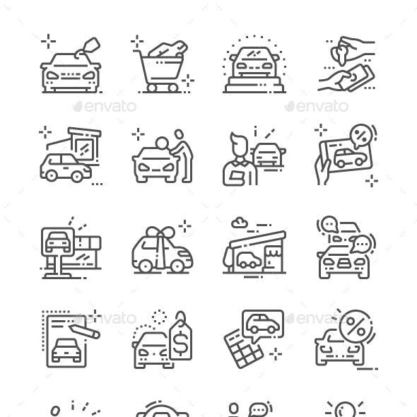Car Shop Line Icons