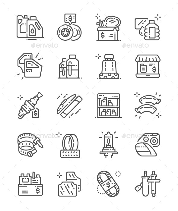 Car Parts Shop Line Icons - Business Icons