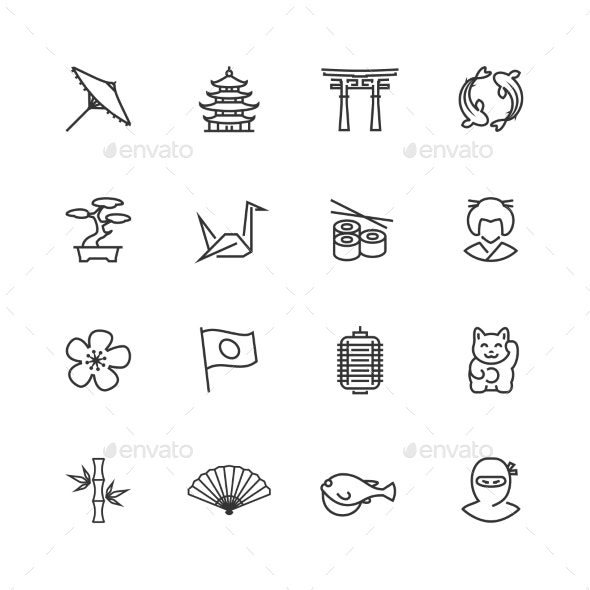 Japanese Theme Vector Icon Set in Thin Line Style - Miscellaneous Icons