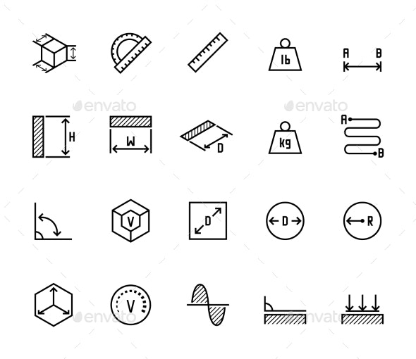 Measuring Related Icon Set in Thin Line Style - Miscellaneous Icons