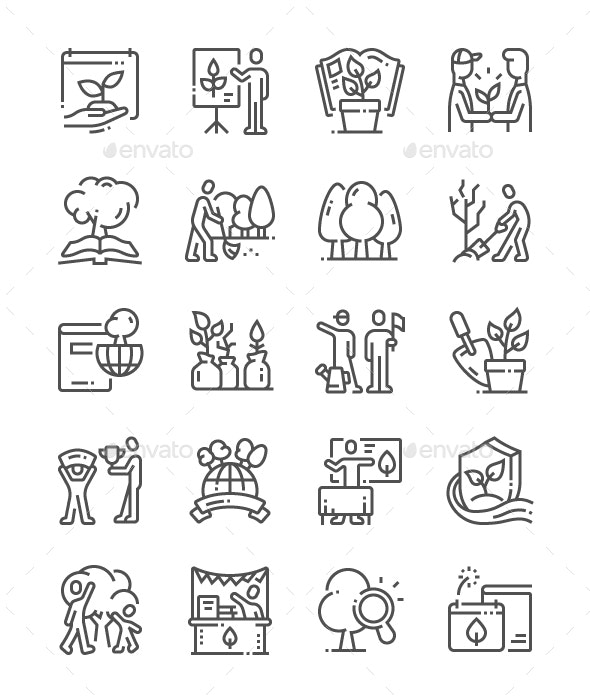 Environmental Education Day Line Icons - Miscellaneous Characters
