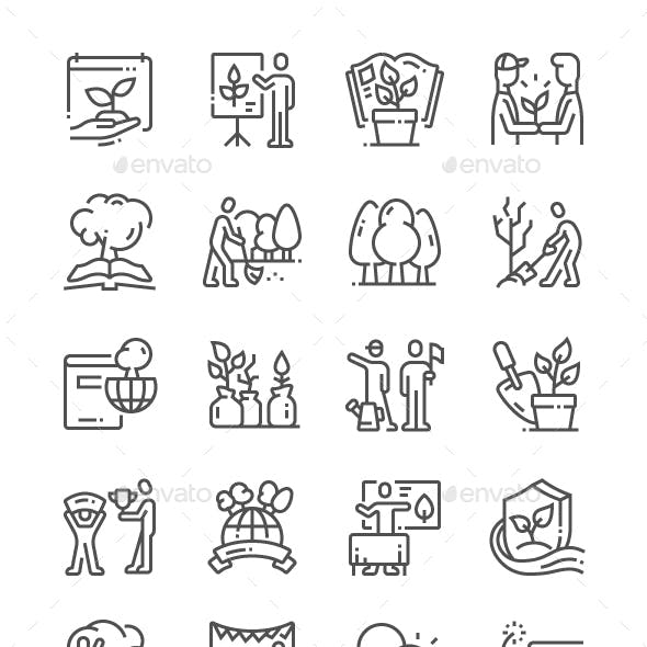 Environmental Education Day Line Icons