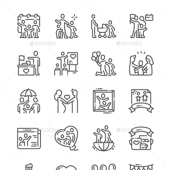 International Day of Families Line Icons