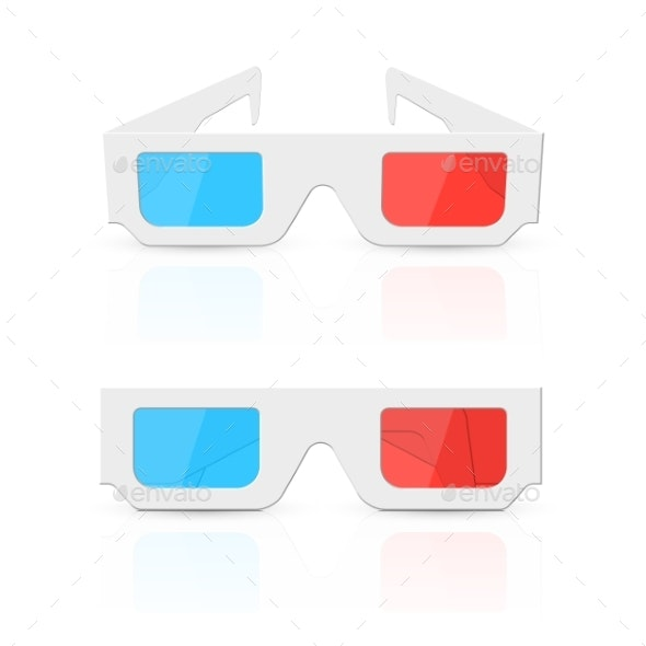 3D Glasses Set Isolated on White - Man-made Objects Objects