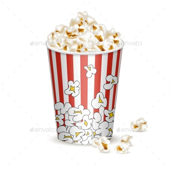 Striped Bucket with Popcorn - Food Objects