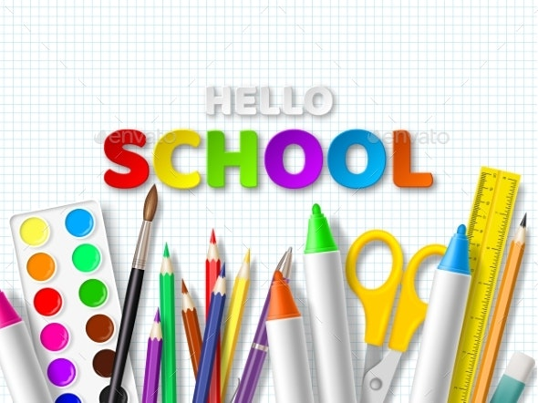 Hello School Typography Design - Miscellaneous Vectors
