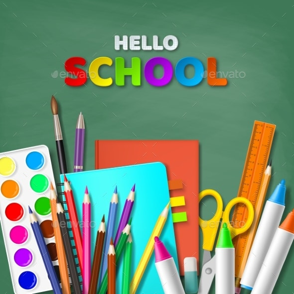 Hello School Typography Design - Miscellaneous Vectors