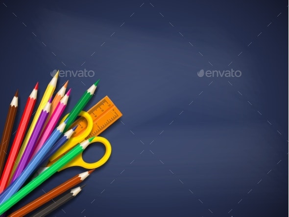 Realistic School Supplies on Blackboard. - Miscellaneous Vectors