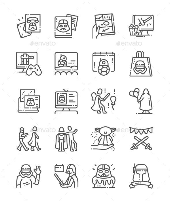 Star Wars Day Line Icons - Miscellaneous Characters