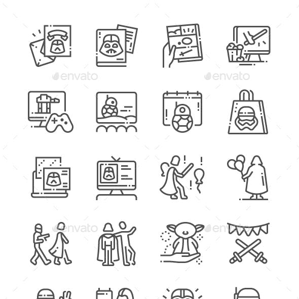 Star Wars Day Line Icons