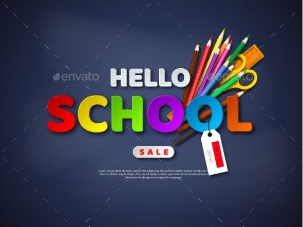 Hello School Sale Poster. - Miscellaneous Vectors