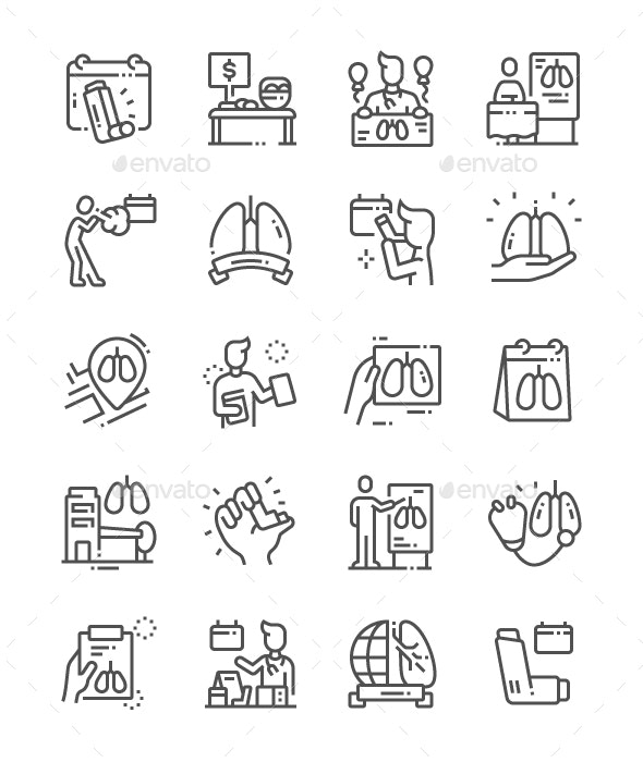 World Asthma Day Line Icons - Miscellaneous Characters